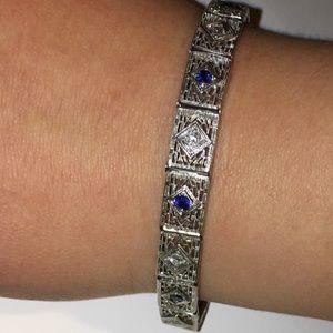 Jewelry - Antique 14K White Gold Sapphire Diamond Bracelet